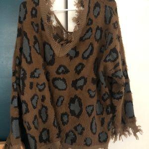 Frayed Leopard Print Sweater